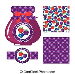 Wild berries jam - Wild berries jam collection Set of paper...
