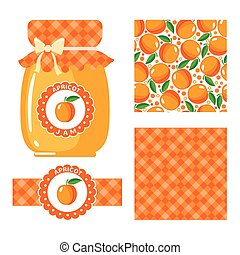 Apricot jam set. - Apricot jam collection. Set of paper...
