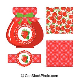 Strawberry jam set - Strawberry jam collection Set of paper...