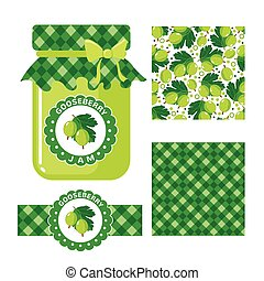 Gooseberry jam set - Gooseberry jam collection Set of paper...