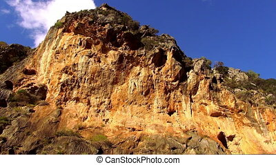 Colorful canyon in the mountains of Mallorca against deep...