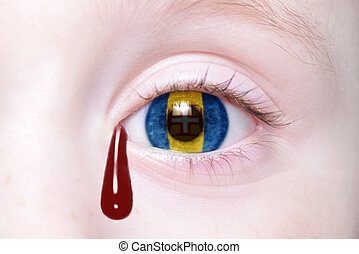 human and 39;s eye with national flag of madeira with bloody...