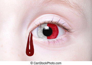 human and 39;s eye with national flag of malta with bloody...
