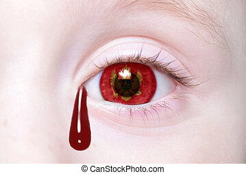human and 39;s eye with national flag of montenegro with...