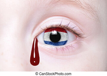 human's eye with national flag of netherlands with...