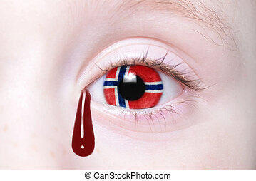 human and 39;s eye with national flag of norway with bloody...