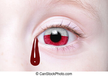 human and 39;s eye with national flag of poland with bloody...