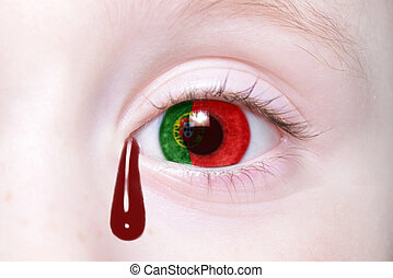 human and 39;s eye with national flag of portugal with...
