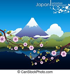 Japanese landscape with mountain Fuji Blooming sakura...