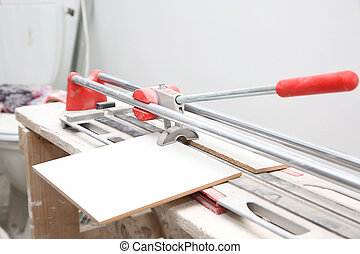 ceramic tile cutter with tile in the house