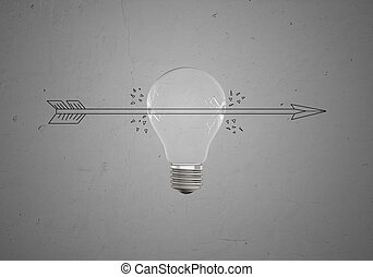 Sketch of arrow piercing light bulb - Sketch of an arrow...