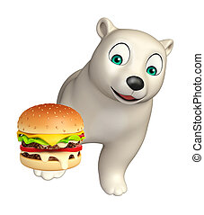 fun Polar bear cartoon character with burger - 3d rendered...