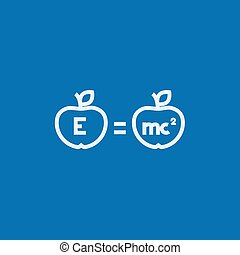 Two apples with formulae line icon - Two apples with...