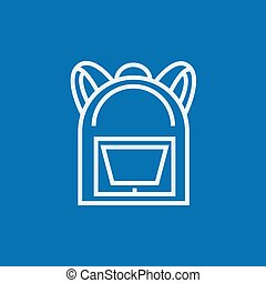 Backpack line icon - Backpack thick line icon with pointed...