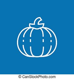 Pumpkin line icon - Pumpkin thick line icon with pointed...