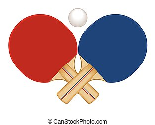 Table tennis paddles and ball - red and blue table tennis...
