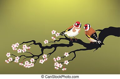 Branch of blooming cherry - Vector illustration of branch of...
