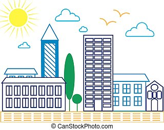 City skyline detailed silhouette. Trendy vector illustration, line art style. Vector