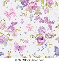 Spring Flowers Background with Butterflies- Seamless Floral Shabby Chic Pattern - in vector