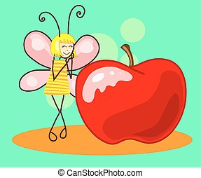Beautiful butterfly to the apple. Vector