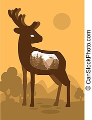 Deer in forest background with an abstract representation of the world. Vector