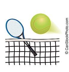 Tennis racquet, net and ball - tennis racquet behind net and...