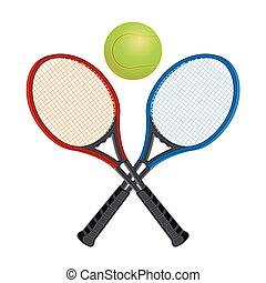 Two tennis racquets with ball - Red and blue tennis racquets...