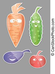 Vegetable icon set. Labels with Vegetables. Carrot, cucumber, tomato, eggplant Flat style. Vector