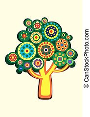 Cartoon multi-colored tree in a circle. Vector illustration