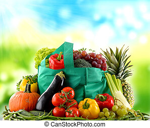 Composition with variety of organic vegetables and fruits