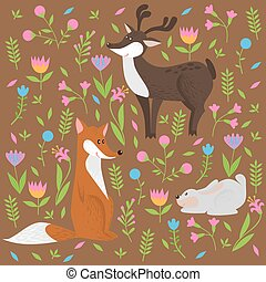 cute forest animals and flowers