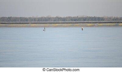 Two winter fishermen walking on frozen water storage...