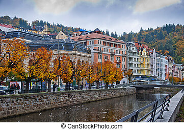 karlovy vary praga - View of the beautiful spa town Karlovy...