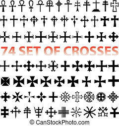 Set Crosses vector various religious symbols