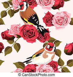 Seamless goldfinch and roses - Vintage goldfinch and roses...