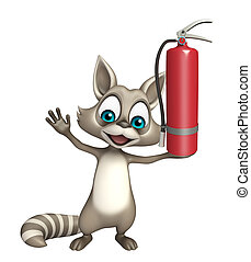 fun Raccoon cartoon character with fire extinguisher - 3d...