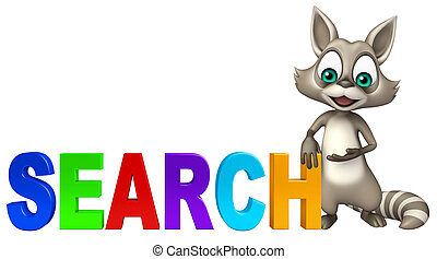 cute Raccoon cartoon character with search sign - 3d...