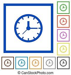 Clock framed flat icons - Set of color square framed clock...