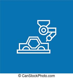 Car production line icon - Automated assembly thick line...