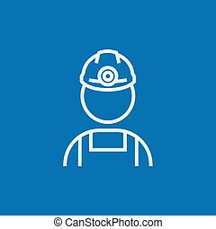 Coal miner line icon. - Coal miner thick line icon with...