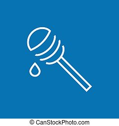 Honey dipper line icon. - Honey dipper thick line icon with...