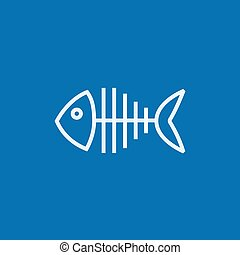 Fish skeleton line icon - Fish skeleton thick line icon with...