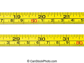 Tape - 20s and 30s - A close up of tape measures reading 20...
