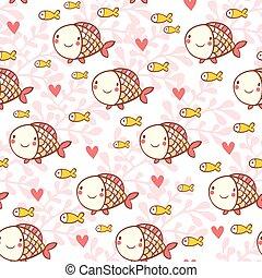 Sweet childish seamless pattern with fish.