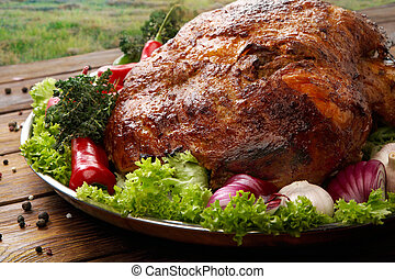 Roasted pork shoulder with vegetables, meat dish -...