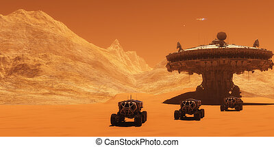 Mars Outpost - A spacecraft takes off from Mars to return to...