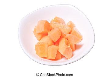 Rock Melon peices - A dish with cut rock melon peices