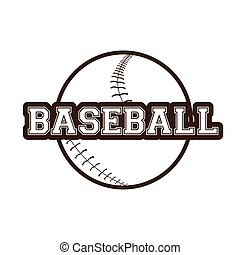 Baseball - Isolated sketch of a baseball ball and text on a...
