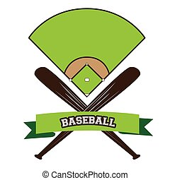 Baseball - Isolated baseball field with a ribbon with text...