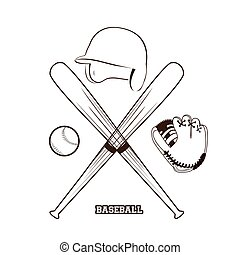 Baseball - Isolated sketch of different baseball elements on...